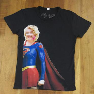 RARETE (ラルテ)  マリリン モンロー スーパーガール  Tシャツ スミクロ  星柄 star