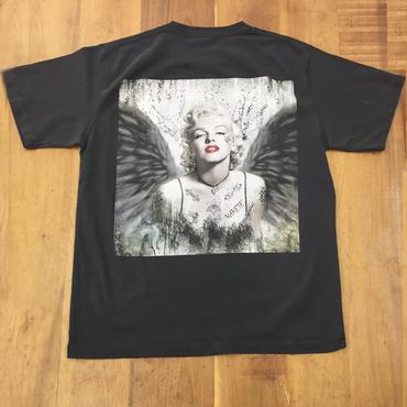 RARETE (ラルテ)  マリリンモンロー 黒い翼 天使 バックプリント ブラック ボックスロゴ (ピグメント加工)