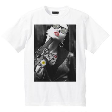 RARETE (ラルテ)    GIRL 迷彩 Tatoo  拳銃  Tシャツ ホワイト