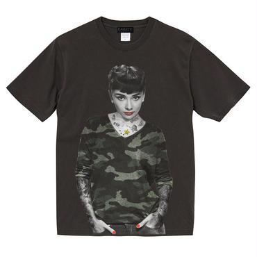 RARETE (ラルテ)  オードリー・ヘプバーン Tシャツ ブラック (ピグメント加工)