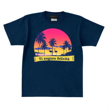 RARETE (ラルテ)    フラミンゴ 夕日 ビーチ  Tシャツ ネイビー