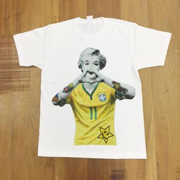 RARETE (ラルテ)  入手困難  マリリンモンロー ブラジル ユニフォーム  Tシャツ ホワイト  星柄 star