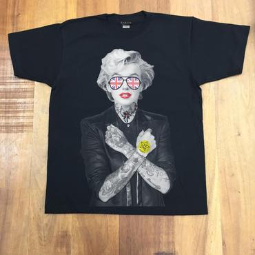 RARETE (ラルテ)   マリリンモンロー イギリス サングラス タトゥー Tシャツ  ブラック  星柄