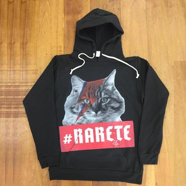 RARETE (ラルテ) 猫 デビットボウイ イナズマ  パーカー ブラック 星柄 star