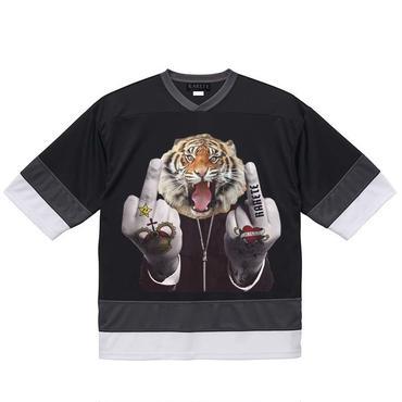 RARETE (ラルテ) トラ ファック ポーズ タトゥー  ブラック ホッケーシャツ