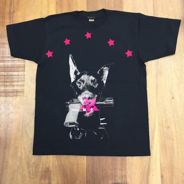 RARETE (ラルテ)   ドーベルマン  Tシャツ  ブラック  星柄