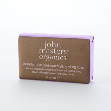 john masters organicsジョンマスターオーガニック LRG&YYソープ(ラベンダーローズゼラニウム&イランイラン) 128ml アロマの泡で包み込みキメの整ったクリア肌に導くソープ