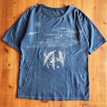 天然インディゴ染め型染Tシャツ Hemp Cotton富士と鳥 手染め一点ものMens Sサイズ