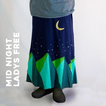 MOON&MOUNTAIN パッチワークロングスカート MID NIGHT