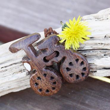 ウッドへアゴム 自転車手彫り天然石