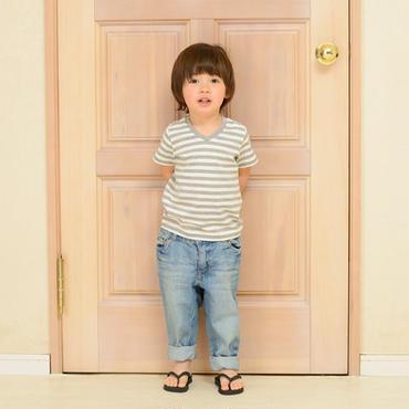 Kids VネックボーダーTシャツ