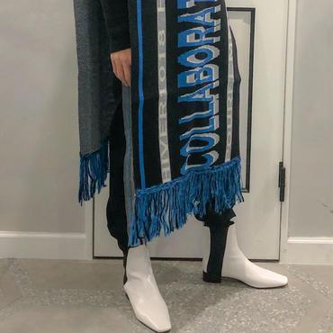 white × black high cut boots