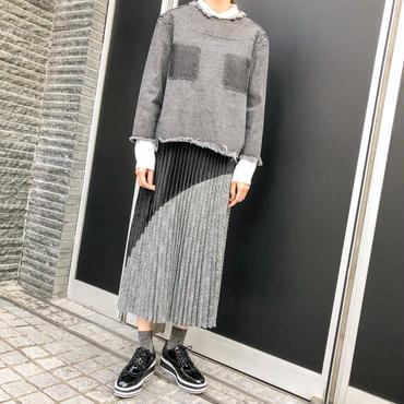 check velours pleats skirt