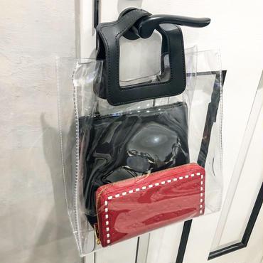clear tote bag (black)