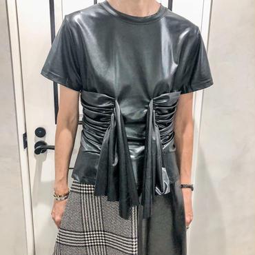 shirring fake leather tshirt