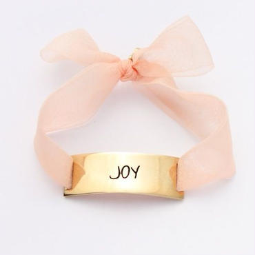 "Charm Bracelet ""Joy"" - Gold - Organdy ribbon"