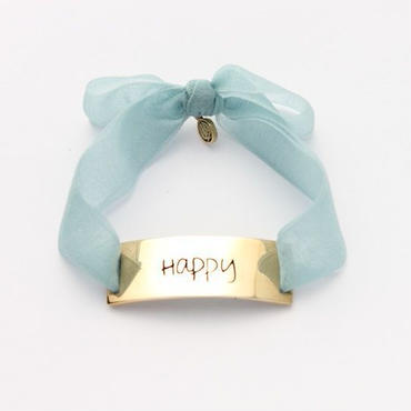 "Charm Bracelet ""Happy"" - Gold - Organdy ribbon"