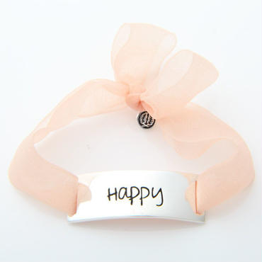 "Charm Bracelet ""Happy"" - Silver - Organdy ribbon"