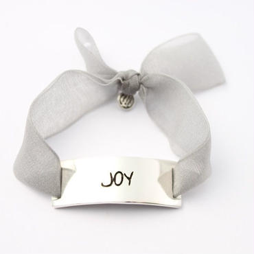 "Charm Bracelet ""Joy"" - Silver - Organdy ribbon"