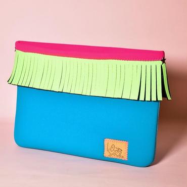 Lozz Sandra/Fringe clutch bag-Turquoise×Neon green fringe