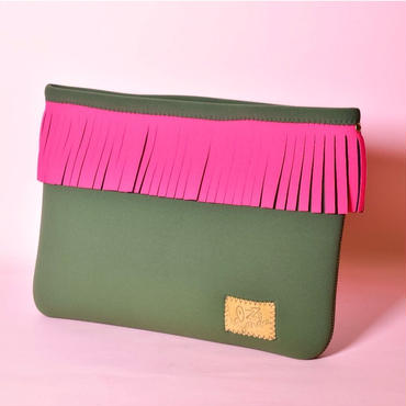 Lozz Sandra/Fringe clutch bag-Olive×Neon pink fringe