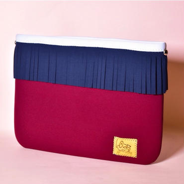 Lozz Sandra/Fringe clutch bag-wine×navy fringe