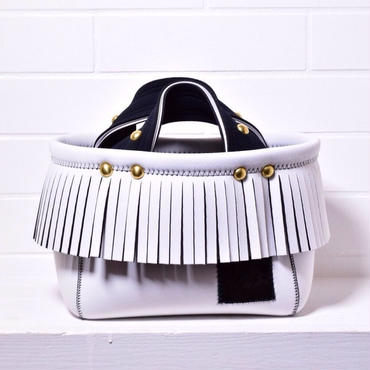 Lozz Sandra/Fringe minitotebag/ All White