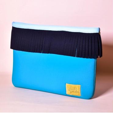 Lozz Sandra/Fringe clutch bag-Turquoise×Black fringe