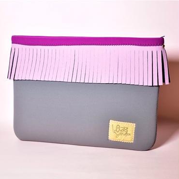 Lozz Sandra/Fringe clutch bag-L-gray×baby pink fringe