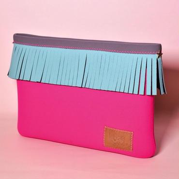 Lozz Sandra/Fringe clutch bag-Neon pink×Mint fringe