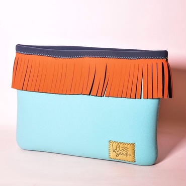 Lozz Sandra/Fringe clutch bag-Mint×Neon orange fringe