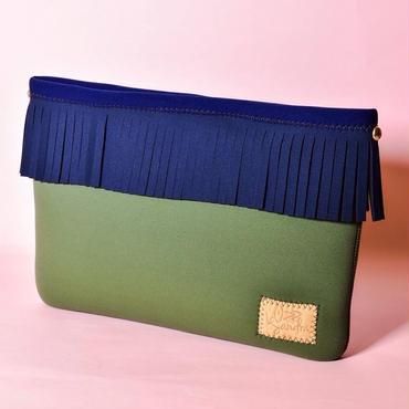 Lozz Sandra/Fringe clutch bag-Olive×Navy fringe