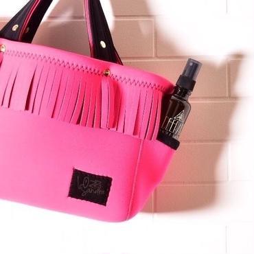 NEW_Lozz Sandra/Fringe Totebag_All Neon pinkストラップ付きシルバースタッズ)