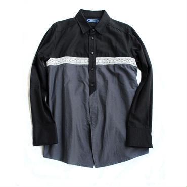 Rhythmor(リズモア)レース切替オックスシャツ BLK×CHC