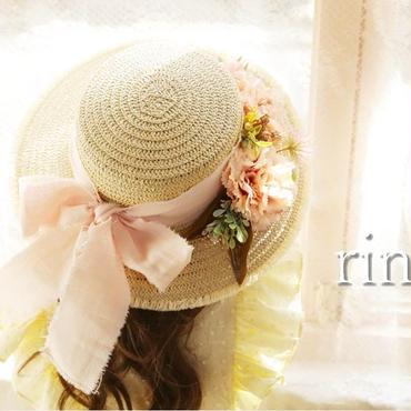 *完売御礼*BONNE flower ribbon麦わら帽子 ピンク《51㎝》