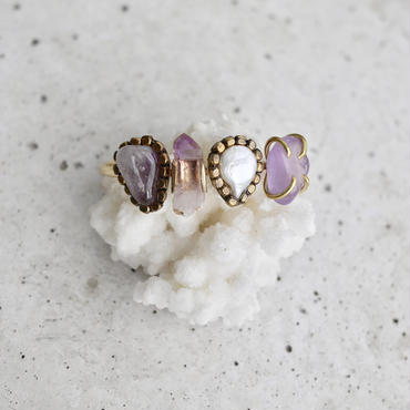「Amethyst×Fresh water pearl」Gemstones bangle
