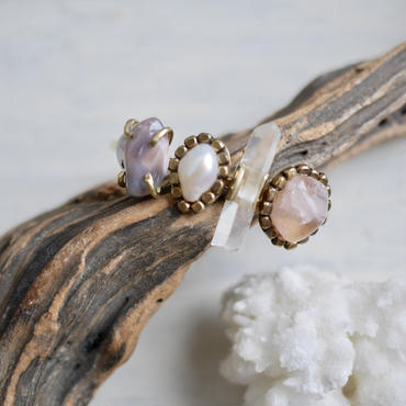 「Agate×Fresh water pearl×Crystal×Rosequartz」Gemstones bangle