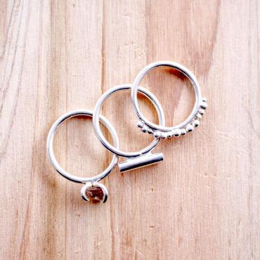 3SET Skinny silver950 rings