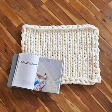 Chunky knit rug<cotton 100>-Ivory