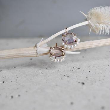 Amethyst×Fresh water pearl earrings
