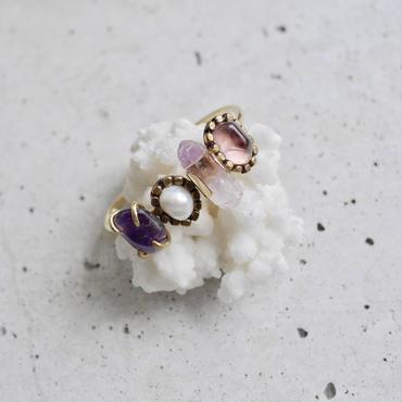 「Amethyst×Fresh water pearl」Gemstones bangle