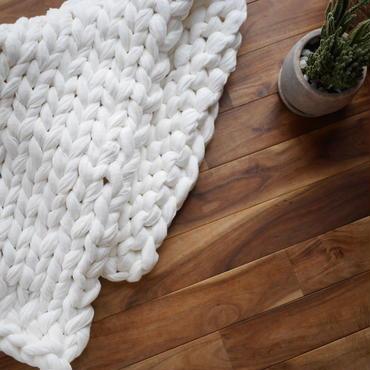 Chunky knit rug<cotton linen>White