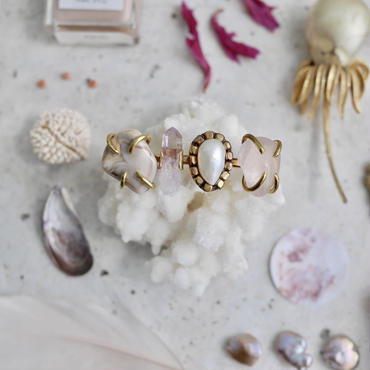 「Agate×Amethyst×Fresh water pearl×Rose quartz」Gemstones bangle