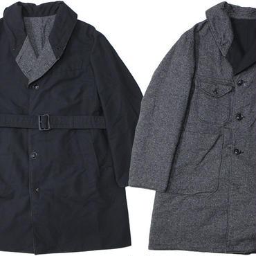 "ENGINEERED GARMENTS(エンジニアード ガーメンツ)""Shawl Collar Reversible Coat - Homespun / Cotton Double Cloth"""