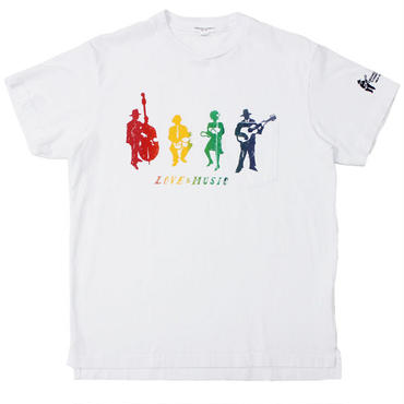 "ENGINEERED GARMENTS(エンジニアード ガーメンツ)""Printed Cross Crew Neck T-Shirt - Musicians"""