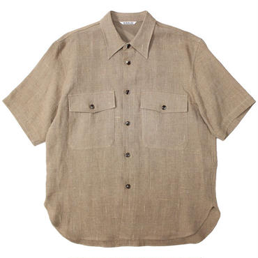 "AURALEE(オーラリー)""LINEN SILK SUMMER TWEED HALF SLEEVED SHIRTS"""