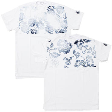 "Engineered Garments(エンジニアード ガーメンツ)""PRINTED CROSS CREW NECK T-SHIRT - FLORAL,LEAF"""