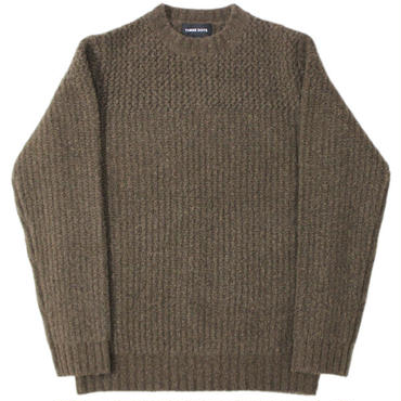 "three dots (スリードッツ) ""PATTERNED SWEATER L/S CREW NECK PO"""