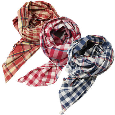 "Engineered Garments(エンジニアード ガーメンツ)""Long Scarf - Big Plaid Madras"""