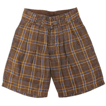 Nigel Cabourn(ナイジェルケーボン)- TROPICAL SHORT (Linen Ramie Check) -BROWN